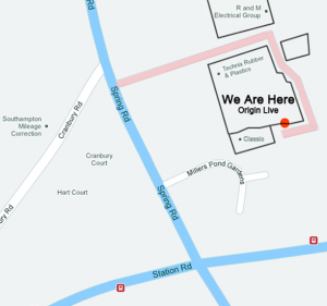 contact page map showing the location of the origin live headquarters