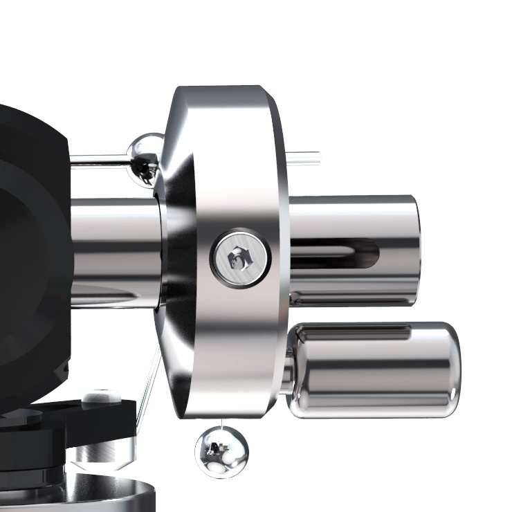 tracking tonearm - illustrious tonearm - counter weight close up